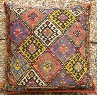 "# 035 Rare Kordi chanteh, filled with sheep wool to form a pillow, 40/39 cm, Khorasan, Northeast Persia, ca. 1925, in good condition with natural dyes and one early ""Mauvein"", cf. Stanzer,  ..."