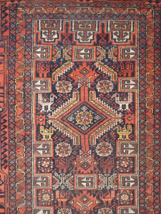 # 916 Baluch pile rug, 95/163 cm, East Persia, late 19th century, rare different bird abstractions, fair pile!  For more offers of wonderful collector's pieces please visit our website:  www.oriental-textile-art.de