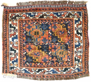 # 827 Khamseh khorjin front, 74/64 cm, Southwest Persia, early 20th century, very good pile with one small restoration, natural colours, electric Blue.