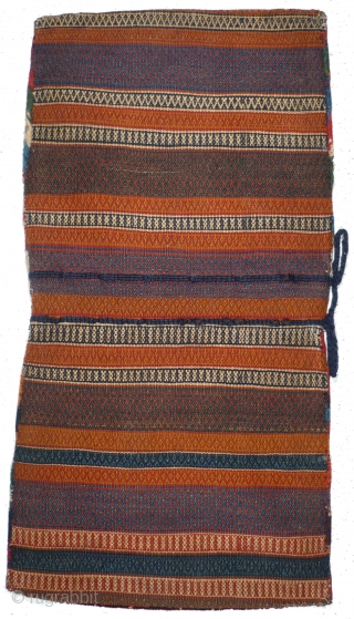 This is one highlight of our annual Advent Bazaar: 1024 Qashqai Khorjin, 56/108 cm, Southwest Persia, ca. 1900, complete double bag, outstanding natural dyes, wonderful back side, good condition, TOP collector's piece!