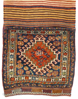 """This is one highlight of our annual Advent Bazaar: # 1004 Qashqai Khorjin Half, 59/110 cm (opened), Southwest Persia, last quarter 19th century, """"H-border"""", fantastic natural light blues and greens, top collector's  ..."""