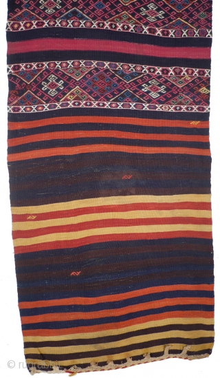 This is one highlight of our annual Advent Bazaar: # 1019 Kurdish Flatweave (Cuval), 85/205 cm (opened), Southeast Anatolia, late 19th century, wonderful natural colors, with a lot of cochenille, some silver  ...