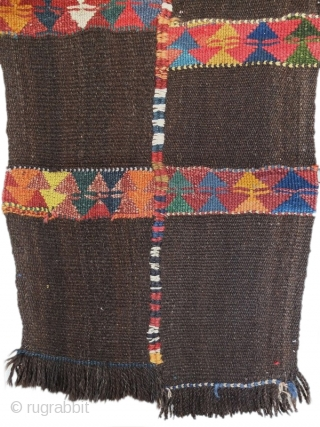 wonderful old tribal flatweave woven by jordanian bedouins. Probabely used as a tent devider. Goathair and colored wool. 217x64 cm