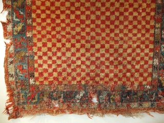 A collectable antique Kula. Glossy Angora wool. The border has lot of demages, 170x100cm