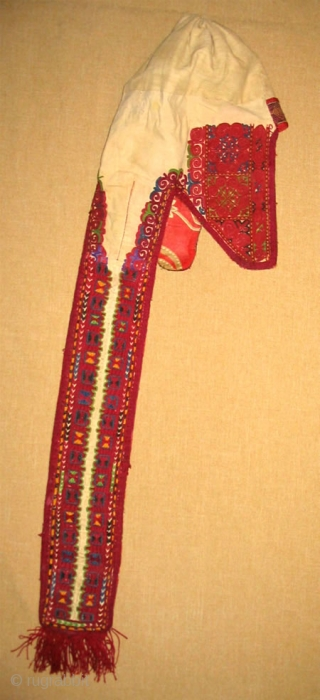 Beautiful, rare Kirghiz nomad head dress decoration in great condition, late 19th, saturated colour combination and fine embroidery.