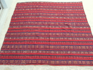 "Antique Uzbek flatweave Jajim / Kilim / Ghudjeri. Size 185 x 185cm / 6'2"" x 6'2"". In excellent condition, without dirty places, defects, ready to use. Great, all natural colors, very fine  ..."