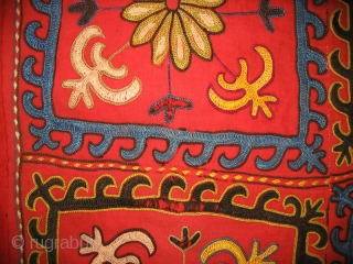 Antique Kirghiz nomads tent decoration, Central Asia, silk embroidered on red cotton foundation, circa 1900, dyes is natural. Size is 32x31 inches.