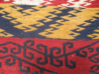 "Antique Uzbek flatweave Jajim / Kilim / Ghudjeri. Size is 160 x 150cm / 5'4"" x 5'. In good condition. Great, all natural colors,"