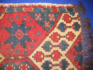 "Antique Uzbek napramach, Central Asia, late 19h, nice natural colors, in very good condition, low pile. Size is 66-40 см, 2'3"" - 1'4""."
