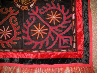 Antique Kirghiz nomads tent decoration, silk embroidered on velvet, circa 1900. Size is 43x33 inches.