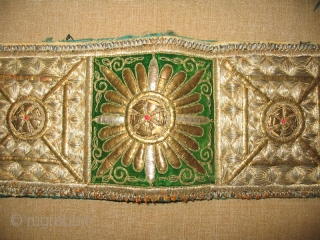 Antique Rare Uzbek Bukhara Wedding Headband, gold embroidery on green silk velvet and red cotton foundation, early 20th, in excellent condition, size is 22x5 inches.