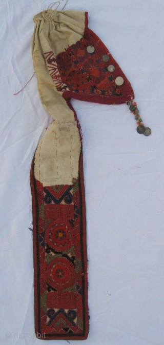 rare Kirghiz nomad headdress in great condition, late 19th, saturated colour combination and fine embroidery.