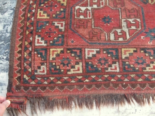 """Antique Turkoman / Turkmen Arabatchi rug, Central Asia, late 19th, nice natural colors, in good condition, see photos. Size is 260-145 cm, 8'8"""" x 5'."""