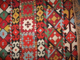 "19th Century antique Uzbek nomads Lakai piece in excellent condition, very fine cross stiched silk embroidery, size is about 56/51cm without fringes, 23"" x 20"""