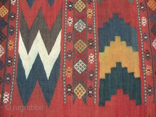 "This pictured piece, a uzbek tadjik kilim, is an interesting example of early 20th century Central Asian kelim work. The colour palette is pleasing. Size is 285-190 cm, 9'6"" x 6'4"". In  ..."