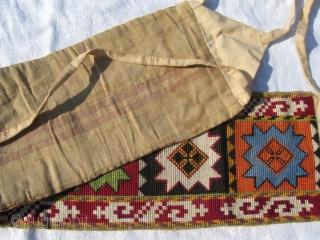 Antique Uzbek nomads Lakai head dress decoration, cross stitched silk embroidery, large size is 55x12 cm, 22x5 inches.