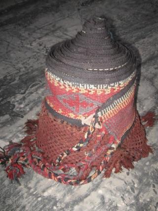 Antique Kirghiz, Uzbek long tent band, yurt decoration with fringe. In excellent condition, natutal colors. Size 1200-30 cm, 40'x1' with fringe.