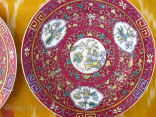 An Antique 19th Century Russian GARDNER porcelain Pair Plates, Oriental Chinese design.  Gardner Porcelain Factory (Verbilky, Moscow): circa 1880.  This beautiful porcelain plates is from the highly collectable Imperial Russian porcelain production of the  ...