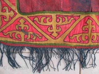 Kirghiz nomads applique, tent decoration, leather, velvet. Circa 1900. Large size is 64-58 cm, 26-23 inches, without fringes.