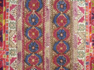 Beautiful antique Ottoman Greek embroidery arched prayer panel known as a quibla. It is composed of various antique Ottoman Greek embroideries(silk, cotton and fine wool? on linen) in order to create a  ...