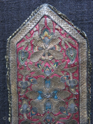 """Isfahan silk and silver emrboidery small envelope shape antique bag, survived up to present days. Almost 5"""" tall and over 3"""" wide"""