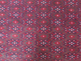 Central Asia Yomud Turkmen Ocaklik - Fireplace surrender kilim, very tightly extra weft woven, an ethnographic item, No wears- in great condition. Circa 1900. size given with diagram.