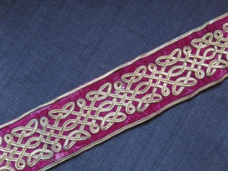 "Ottoman Gilded thread embroidery velvet belt, endless knot design, 19th cent. size: 37"" X 3"" --  94 cm X 7.5 cm"