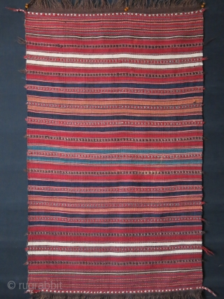 """Mini mazanderan antique kilim, all wool with great natural colors. tiny couple can be fixed before shipping, soft handle Circa 1900 or earlier - size 45"""" X 27"""" - 115 cm X  ..."""