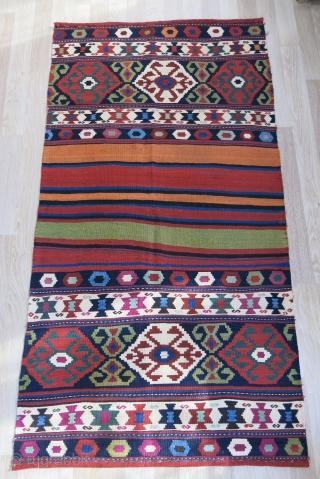 "Caucasus kilim Bedding bag fragment. Circa 1900 or earlier. Size: 79"" X 42"" -- 200 cm X 107 cm."
