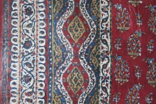 """India Gujarat Kalamkari  print and painting. The icon paisley motif most probably comes form a """"teardrop"""" or """"pinecone"""".  This one survived in great shape with deep natural lac and other  ..."""