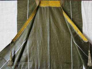 "Syrian Aba-  Silk Ikat coat with metallic embroidery collar, military green rare shade is a respect for the state. circa early 20th cent. Size : 57"" X 51"" - 145 cm  ..."