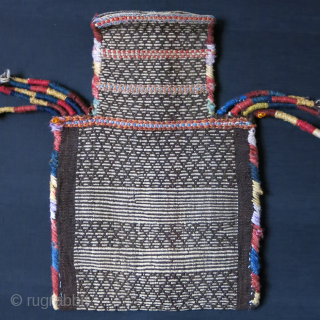 "Khalaj both side mixed weave salt bag, some part of trassels wrapping have restored with old yarn. Circa 1900 Size: 18"" X 13"" -- 45 cm X 33 cm"