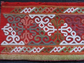 """Turkmen Chodor chapan fragment, fine chain stitch emrboidery with natural colors. Circa 1900 or earlier size- 18.5"""" X 4"""" - 46 cm X 10 cm"""