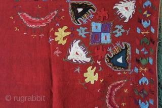 "Lakai tribal dowry bokhcha, silk emrboidery on warpface weave with braided silk tassels on two corners. Circa 1920 -1930s.  Size : 78"" X 74"" - 198 cm X 188 cm"
