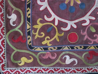 "Tajikistan Lakai miror cover silk emrboiery on velvet, fine chain stitch with natural colors, Circa 1930-40s size: 16"" X 15"" -- 41 cm x 38 cm"