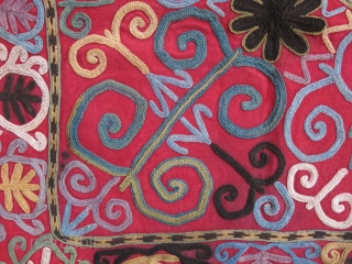 "Uzbekistan Lakai Mirror cover with Russian printed cotton pocket backing, size without tassels - 20"" X 20"" - 51 cm X 51 cm"