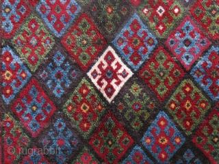 "Kurdish bag face, saturated natural colors , good pile condition. Circa 1900, Size : 32"" X 25"" -- 80 cm X 64 cm"