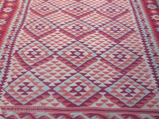 "South Europe - Balkan - Manastir large size kilim. Good condition, squarish size with traditional reddish colors. Circa 1900 or earlier- size : 315 cm X 285 cm -- 124"" X 112""  ..."
