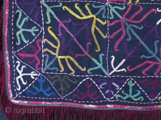 "Tajikistan Kirgiz hanging mirror cover. Silk emrbodiery on fine black cotton with silk tassels. Circa 1900 - size : 55 cm X 52 cm -- 20.5"" X 21.5"""