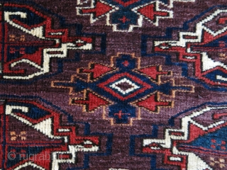 """Turkmen Chuval Face, asymmetrical knots, good pile and condition, saturated all good colors. Circa 1900 or earlier. size: 49"""" X 29"""" - 125 cm X 74 cm"""