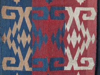 "Central Asian Qajari warp face woven kilim panel.wears as seen - Saturated natural colors. It can be mounted before sending. Circa mid 19th.. Size : 75"" X 14"" - `90 cm X  ..."