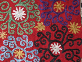 "Uzbek Lakai Mirror cover hanging, Circa 1900 or earlier, Russian printed cotton backing, size : 22"" X 21"" --  56 cm X 53 cm"