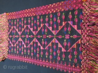 """Palestinian silk embroidery pillow cover with long silk tassels. Circa 1930-40s size: 20"""" X 13"""" with tassels 26"""" long -- 50 cm X 33 cm - 66 cm"""