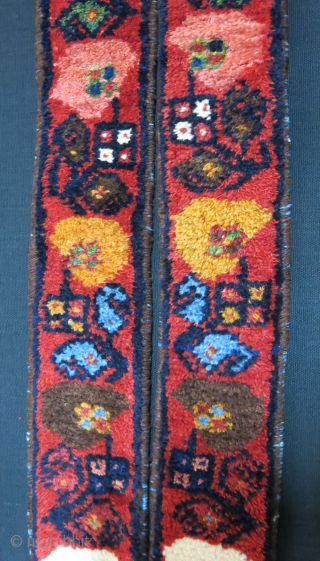 "Merry Christmas to everyone. Armenian buf Baktiyari region pile band. saturated great colors and pile. Indigo dyed cotton wefted with slit in center. Circa- 19th cent. Size : 62"" X 0ver 3""  ..."