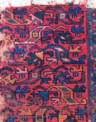 Persian very old Kurdish fragmant rug size 112x120cm
