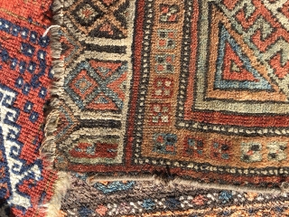 """mid 19th c konya yaştık 23x34"""" fair condition with fraying of selvages and ends, 2 fingertip holes and a 1""""x 1/2"""" hole"""