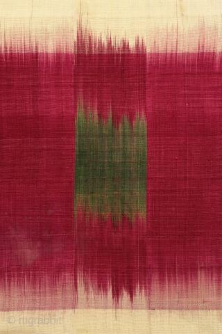 Uzbek Robe, Chapan Uzbekistan, Central Asia Early 20th century Silk ikat W: 59 in x H: 50 in :: 150 cm x 127 cm