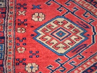 antique anatolian Bergama rug. Size: 115 x 214 cm. Very fine knotting. Some thin pile. Sides and ends are cutted.