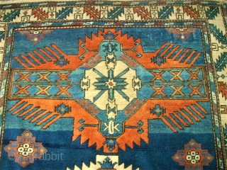 antique caucasian rug. Size: 132 x 199 cm. Good pile. Ends used condition.