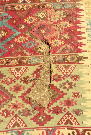 antique Kilim. Size: 163 x 166 cm. Damaged. Holes.